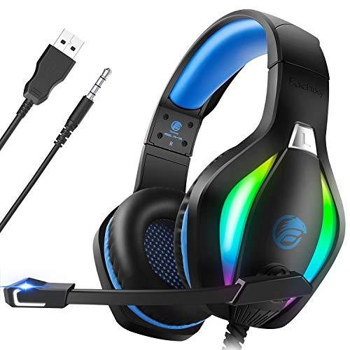 Fachixy Cuffie Gaming per PC, PS4, PS5, Xbox One, Switch con Luce RGB, Cuffie da Gaming con Eliminazione del Rumore con Microfono, Cuffie da Gioco Stereo Surround con Filo, per Jack da 3,5MM, Blu
