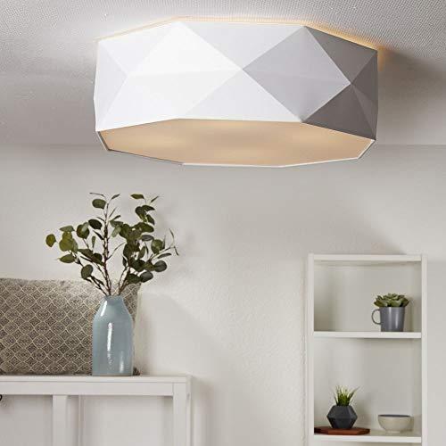 famlights - Plafoniera da soffitto per soggiorno, camera da letto con paralume in tessuto rotondo, attacco E27, lampada da soffitto per soggiorno grande, diversi colori