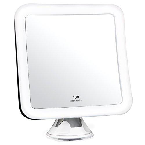 Fancii 10X Specchio ingranditore per Trucco con Luce LED e Ventosa Potente - Specchio cosmetico da Viaggio Illuminato - Specchio da Bagno Portatile (Quadrato)
