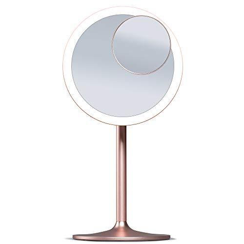 Fancii Specchio da Trucco Ricaricabile con Luce LED, 1x e 10x Specchio Ingranditore Magnetico - Specchio Cosmetico Illuminato con con 3 Ambiente di Luce, Intensità Regolabile e Touchscreen (Nala)