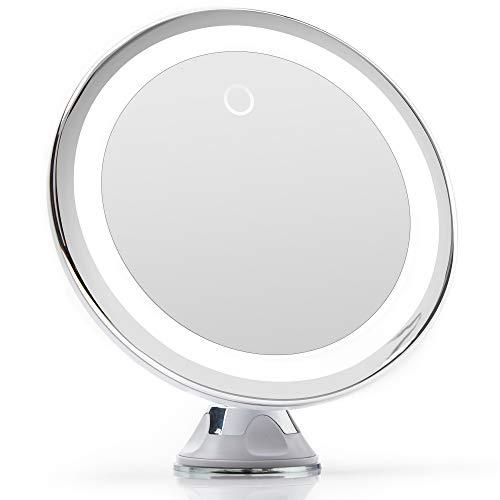 Fancii Specchio Ingranditore 10x per Trucco con Luce LED, USB o Batteria - Specchio Illuminato con Ingradimento, Luci Dimmerabile, Potente Ventosa, Rotazione a 360°, per Bagno e Viaggio
