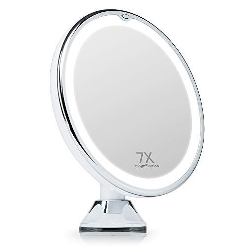 Fancii Specchio Ingranditore illuminato 7x per Trucco, con LED Circolari a Luce Naturale, Bloccaggio a Ventosa, Senza Fili - Specchio Cosmetico da Viaggio