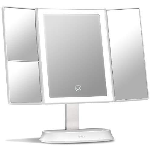 Fancii Specchio per Trucco Illuminato Ingranditore 1x 5x 7x, Specchio Cosmetico con 40 Luci LED Naturali a Intensità Regolabile e Touchscreen, Specchio Triplo da Tavolo con Base (Sora)