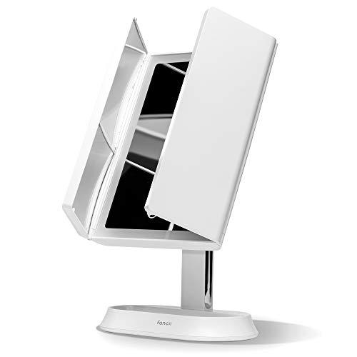 Fancii Specchio per Trucco Ricaricabile con 60 Luci LED Dimmerabili e Ingranditore 1x 5x 7x - Specchio Triplo Illuminato con 3 Ambiente di Luce, Sensore Tattile, Supporto Cosmetico (Zora)