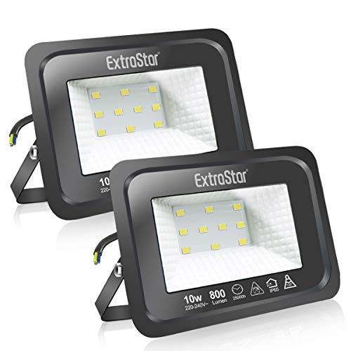 Faretti a LED per esterni 10W Potenti luci a LED per esterni IP65,Luce Bianca Fredda 6500K di sicurezza per terrazza, giardino, patio, parco, garage,2 Pezzi
