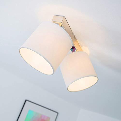 Faretti da soffitto, 2luci, paralume in tessuto, G9,max. 40W, chrom/weiß, G9 40.00 W 230 voltsV