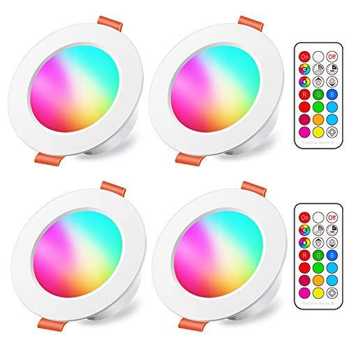 Faretti LED da Incasso 8W (equivalenti a 60W), Colorate RGBW RGB 5700K Sfera Luce Bianca freddo Dimerabile IP44 Cambiare Colore Multicolore con Telecomando Interni per cartongesso (Pacco da 4)