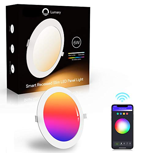 Faretti LED da incasso intelligenti, Lumary Lampada da Pannello Wi-Fi Ultrasottile 6W 480LM, Downlight Multicolore Dimmerabile, Compatibile con Alexa e Google Assistant - 1PCS