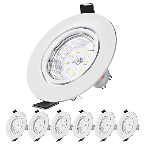 Faretti LED da Incasso per Cartongesso, 5W Equivalenti a 50 W, Luce Bianco Freddo 6000K, 500LM Orientabili Angolo a Fascio 120 Gradi, AC 220-240V Rotonde Bianche (Set da 6 )