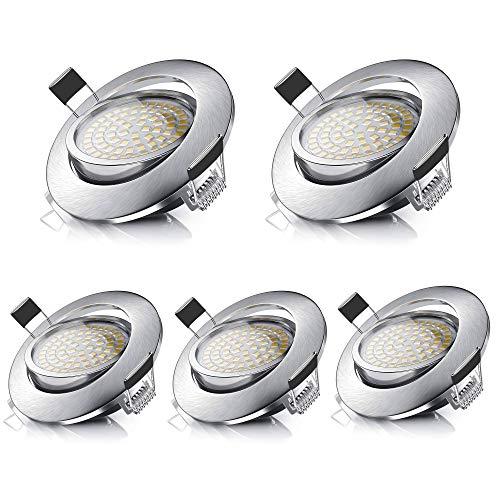 Faretti LED da Incasso- Ultra sottile 26mm - Lampada Bianco Caldo da Incasso per Controsoffitto in Cartongesso - 550 Lumen 5W 230V Orientabili IP44 per Bagno Cucina (Confezione da 5)