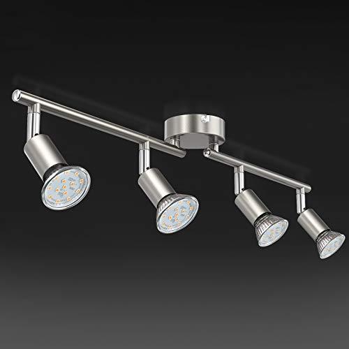 Faretti LED da soffitto orientabili, Plafoniera LED, luce bianca calda,lampadario moderno in metallo cromato per cucina o camera da letto, include 4 lampadine LED GU10 da 3.5 W, 380Lm,230V