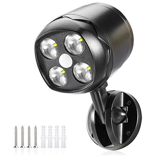 Faretto a Batteria, CrazyFire Faretto LED da Esterno IP65 Impermeabile 600lm con Sensore di Movimento,Luce LED Sensore Movimento Flessibile per Giardino, Vialetto, Patio, Ingresso