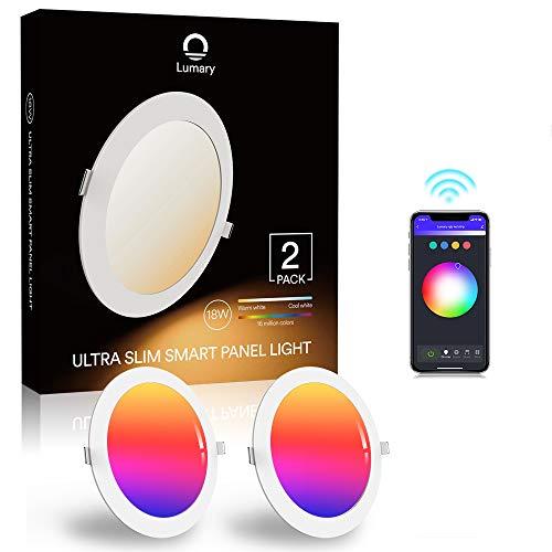 Faretto da incasso intelligente Alexa, confezione da 2 faretti LED Lumary 18 W WLAN da soffitto, colori dimmerabili RGBWW 2700 K-6500 K Smart, compatibili con Alexa Google Home, sostituisce 180 W