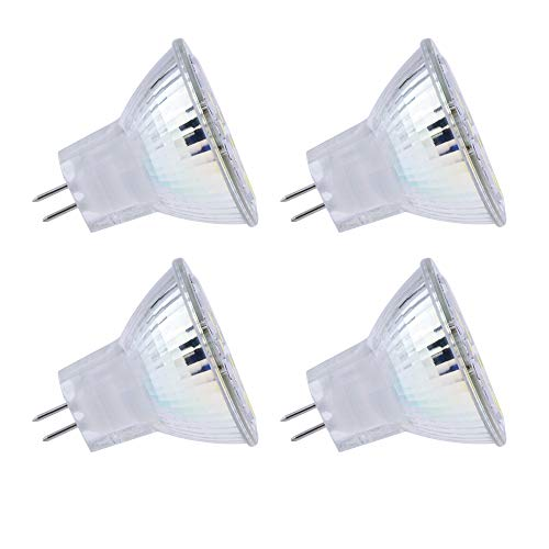 Faretto GU4 12V LED per Cappa Cucina, Ø35mm MR11 LED 2W Equivalente a Alogene 10W-20W, 120° Luce Calda 3000K, AC/DC 12V-24V MR11 GU4 Faretti da Incasso LED per Camper/Giardino/Bagno, set di 4