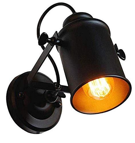 Faretto in stile Vintage Industrial, di colore nero, Angolo di Regolazione Lampada da Parete Interni, per bar, café, salone, ristorante, camera da letto