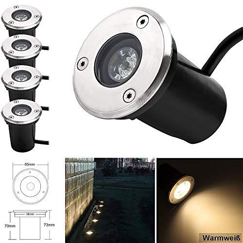 Faretto Incasso LED da Segnapasso Esterno 1W 90lm Faretto da Incasso 45° Bianco Caldo 3000K Rotondo Faretti da Giardino 230V AC per Esterno [Classe di efficienza energetica A+]