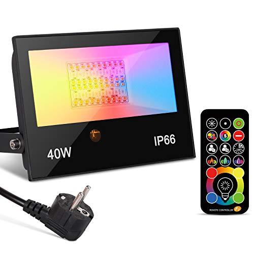 Faretto LED con telecomando, 40W RGBW Faretto LED da esterno dimmerabile, Proiettore LED impermeabile IP66, Cavo 1,8m, Proiettore funzione memoria timer Festa di matrimonio di Natale