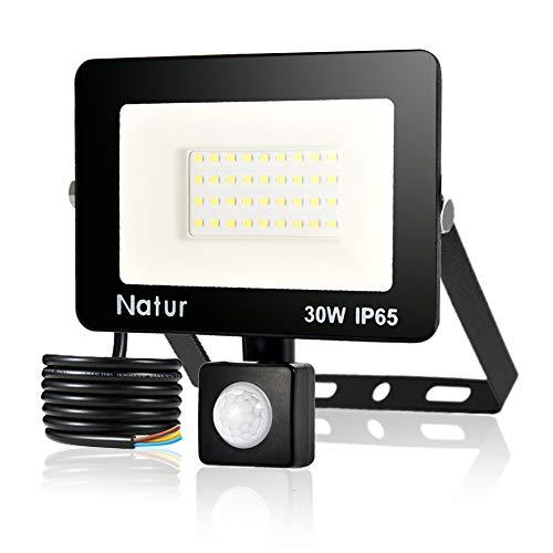 Faretto LED da Esterno con Sensore di Movimento 30W, Bianco Caldo (3000K) Faro Esterni, IP65 Impermeabile LED Esterno, Illuminazione per Parcheggio, Ingresso, Corridoio, Garage。