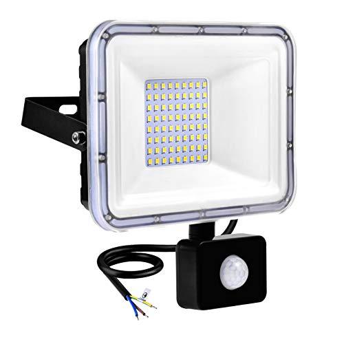 Faretto LED da Esterno con Sensore di Movimento 50W 4000LM Luci di Sicurezza 6500K Bianco Freddo, Impermeabile IP67 Lampade di Sicurezza per Giardino Cortile Garage Eaves