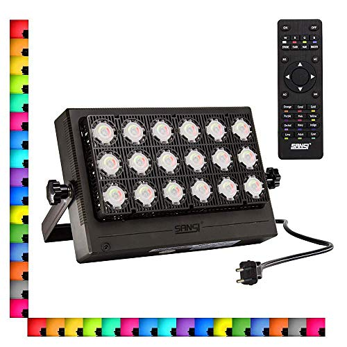 Faretto LED da Esterno RGB 100W - SANSI Proiettore Dimmerabile Impermeabile IP66, 4 Modalità 16 Colori con Telecomando, Funzione di Memeria per Natale Halloween Festa Giardino