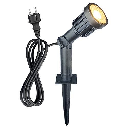 Faretto LED da giardino con picchetto, 5 W, 400 lm, IP65, impermeabile, orientabile, luce per prato, 3000 K, per giardino, terrazza, esterni, con cavo da 1,500 mm e tubo allungato