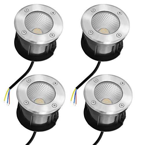 Faretto LED da incasso a pavimento, 10 W, faretto da pavimento, da giardino, senza picchetto, IP65, AC85-265 V, per esterni, 3000 K, bianco caldo, 4/8 pezzi 4 pezzi