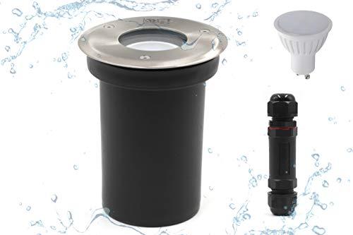 Faretto LED da incasso a pavimento, IP67, per esterni, 230 Volt, AC GU10, 5 Watt, luce bianca calda, 360 lumen, 3000 K, calpestabile, antiruggine, da incasso a pavimento
