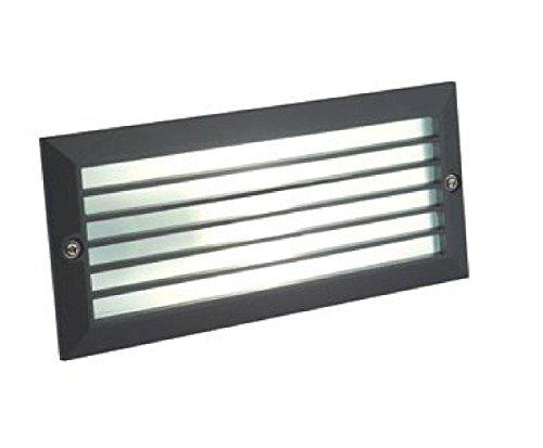 Faretto segnapasso da incasso a parete con griglia lampada nero