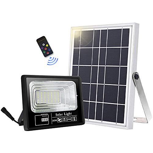 Faretto solare da esterno con 49 LED ad alta luminosità, 6000 mAh, con pannello solare, luce controllata, IP66, impermeabile, lampada solare da esterno per giardino
