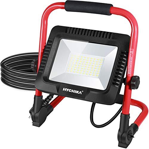 Faro LED 50W, HYCHIKA 5500 Lumen, 6500K Bianco Brillante, Regola Luminosità, Impermeabile IP65 per Uso Esterno, Cavo 3M Portatile, Per Lavori, Giardini e Garage [Classe di efficienza energetica A++