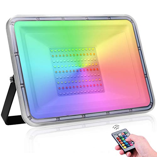 Faro LED RGB 100W Impermeabile IP67 16 colori & 4 modalità Faretto LED da Esterno con telecomando 10000LM Cambia Colore luci di sicurezza per Giardino Festa Festival musicale (Nessuna memoria)