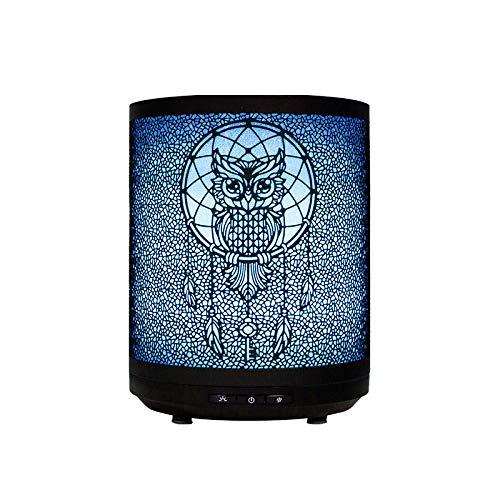 Fasola diffusore di oli essenziali, diffusore di aromi con luci LED a 7 colori e timer, ultrasuoni elettrico umidificatore per casa o ufficio, spegnimento automatico senz'acqua 260ML, gufo