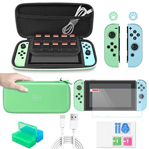 FASTSNAIL 12in1 Accessori Kit per Nintendo Switch, Set di Accessori tra cui Custodia,Cover JoyCon,Proteggi Schermo,Tappi per Pollice,Cavo di tipo C,Custodie per carte ecc.
