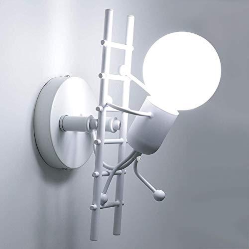 FengShang Lampada da parete umanoide Lampada da parete per interni in metallo creativo Lampada da letto per cartoni animati E27 Lampada da parete a LED per soggiorno dei bambini (nero, bianco)