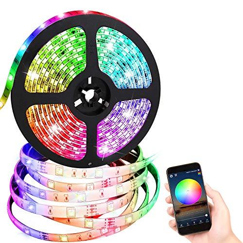 FISHOAKY WIFI Striscia LED, 5M RGB LED Strip Striscia LED Alexa Impermeabile IP67 con 24 Tasti Telecomando per Natale Giardino Casa Festa, Sync con Musica, Funziona con Android IOS ALEXA Google Home