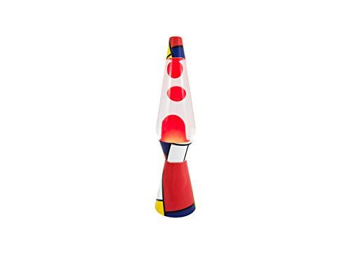 Fisura LT0922 - Lampada di lava rossa design Mondrian 40 cm liquido trasparente Magma rosso Metallo e vetro. Lava Lamp.