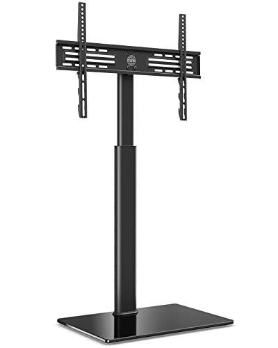 FITUEYES Supporto Girevole per TV da 32 a 60 pollici Mobile Porta TV LCD LED con 1 Ripiano - Girevole di 70 Gradi - Regolabile in Altezza - Max VESA 600x400 mm - Portata Max 30kg - Gestione dei Cavi
