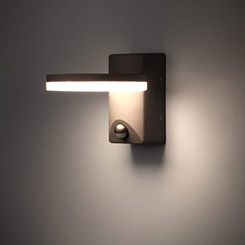 FLORNIA Applique per esterno a LED con sensore di movimento Illuminazione per esterni a parete Lampada esterna resistente alle intemperie in alluminio PIR alimentato da casa [800LM 12W 4000K IP44]