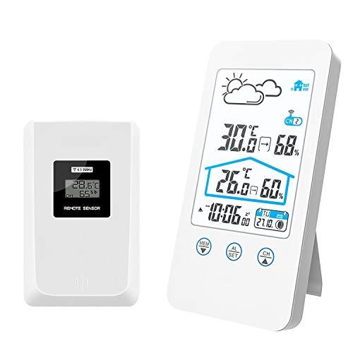 FLYLAND Stazione meteorologica Senza Fili, termometro Esterno Senza Fili Digitale per Interni Barometro Misuratore di umidità Orologio per Stazione meteorologica con sensore Esterno (Bianco)