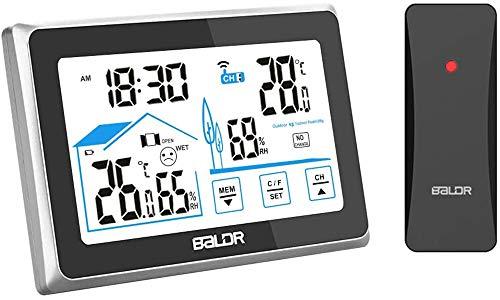 FLYLAND Stazione meteorologica Wireless,Stazione di previsione del termometro Digitale Interno Esterno, Monitor dell'umidità della Temperatura Domestica, Sensore igrometro remoto(scheggia)
