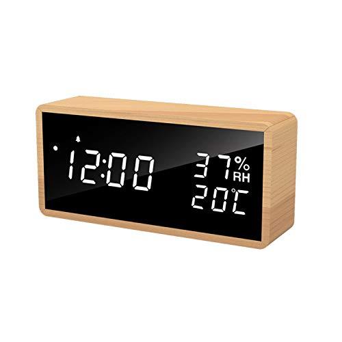 Flysocks Sveglia Digitale a LED in Legno, Autosepgnimento Monitoraggio Temperatura e umidità 3 Livelli di Luminosità Formato 12H / 24H