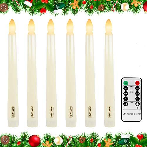 Forever Speed Candele a LED 6 Pcs, senza Fiamma, con effetto Tremolante, Decorazione per Halloween, Natale, Pasqua, Matrimonio Beige Nessun Candelabro