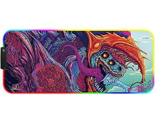 FORRICA RGB Tappetino Mouse Gaming Grande XXL 900 x 400 x 3 mm Gioco Mouse Pad Lavabile Antiscivolo Impermeabile Tappetino Scrivania Adatto Giochi Ufficio Tappetini per Mouse Bestia