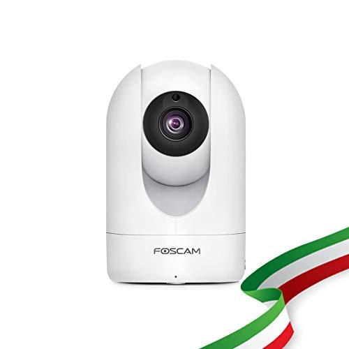 Foscam R2M Telecamera IP di videosorveglianza WiFi. Telecamera da interno wireless ad alta risoluzione 2MP con Pan/Tilt. Compatibile con Alexa.