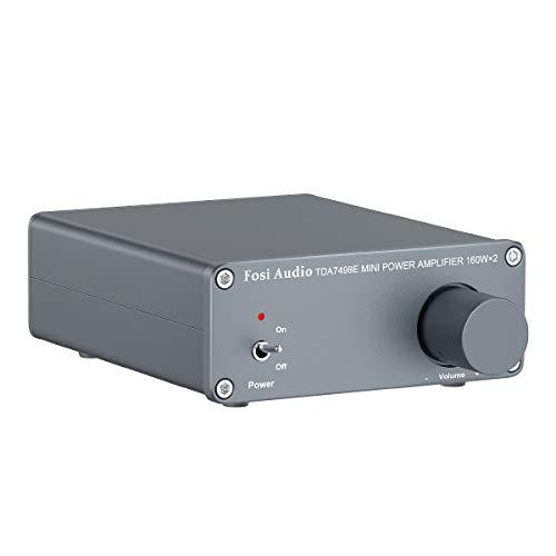 Fosi Audio TDA7498E - Ricevitore Amplificatore Audio Stereo a 2 Canali, Amplificatore Integrato Micro Hi-Fi Classe D, Alimentatore da 24V DC, Per 160W x2 Altoparlante