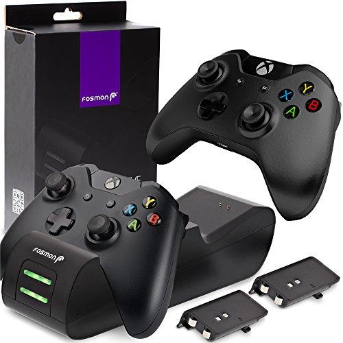 Fosmon Dual Stazione di Ricarica Compatible con Controller Xbox One/One S/One X/Elite (Non per Xbox Series X/S 2020), (Dual Slot) Caricabatteria Docking Station e 2X Batteria Ricaricabile - Nero