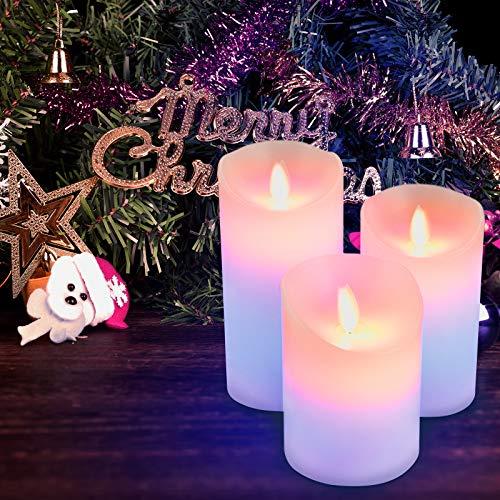 Furado Candele senza fiamma a LED , portacandele senza fiamma a LED, luci di candela tealight multicolore stoppino tremolante lampada elettrica a cera reale con funzione timer telecomando
