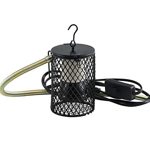 Furpaw Lampada Riscaldante per Rettili, Ceramica Lampadina Infrarossi Riscaldante con Staffa Anti-Caldo Portalampada Protezione per Animali Domestici Tartaruga/Lucertola/Serpente - EU Plug, 100W