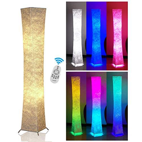 Fy-Light Lampada da Terra 132 CM, Sottile Telecomando Lampada da terra in tessuto con 2 lampadine a colori RGB, camera da letto[Classe di efficienza energetica A+++]