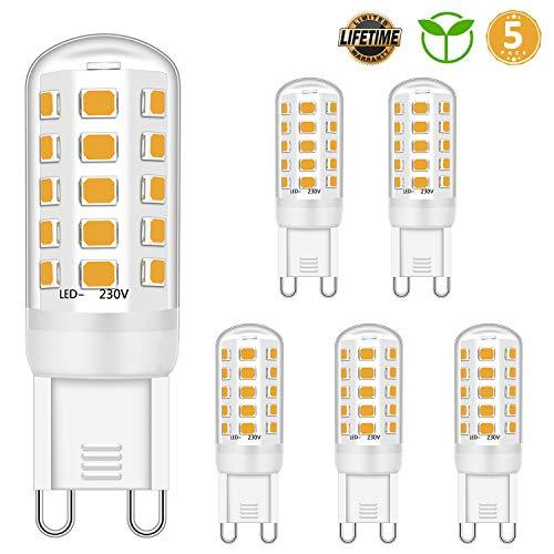 G9 GUIDATO Luce Bulbi dimmerabile 4W Equivalente a 28W 30W 40W alogena Bulbi, Bianco caldo 2700K, G9 presa di corrente Guidato Lampada, senza sfarfallio, 420LM, CA 220-240 V, confezione da 5 pezzi